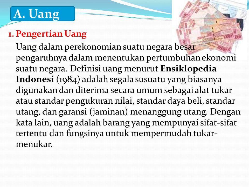 A. Uang 1. Pengertian Uang.