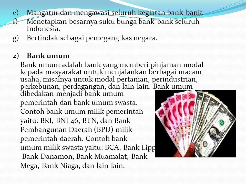 Mangatur dan mengawasi seluruh kegiatan bank-bank.