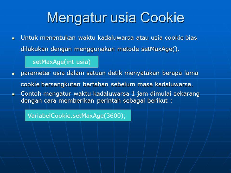VariabelCookie.setMaxAge(3600);