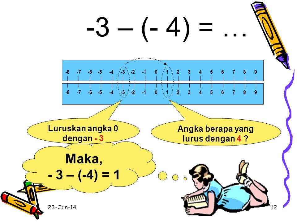 Luruskan angka 0 dengan - 3 Angka berapa yang lurus dengan 4