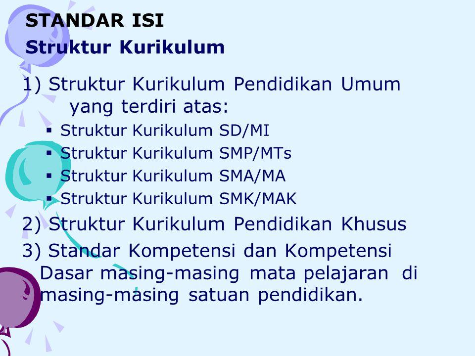 1) Struktur Kurikulum Pendidikan Umum yang terdiri atas: