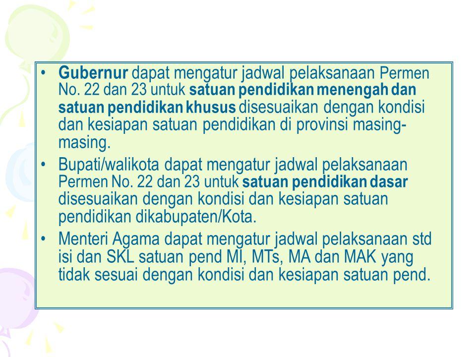 Gubernur dapat mengatur jadwal pelaksanaan Permen No