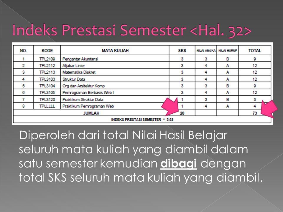 Indeks Prestasi Semester <Hal. 32>