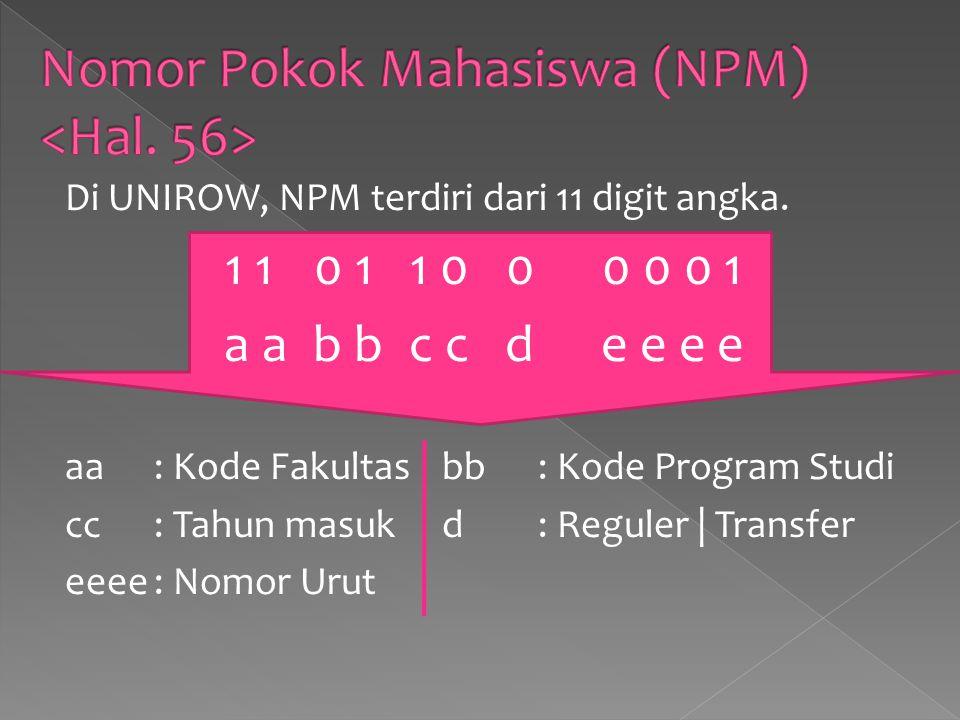 Nomor Pokok Mahasiswa (NPM) <Hal. 56>