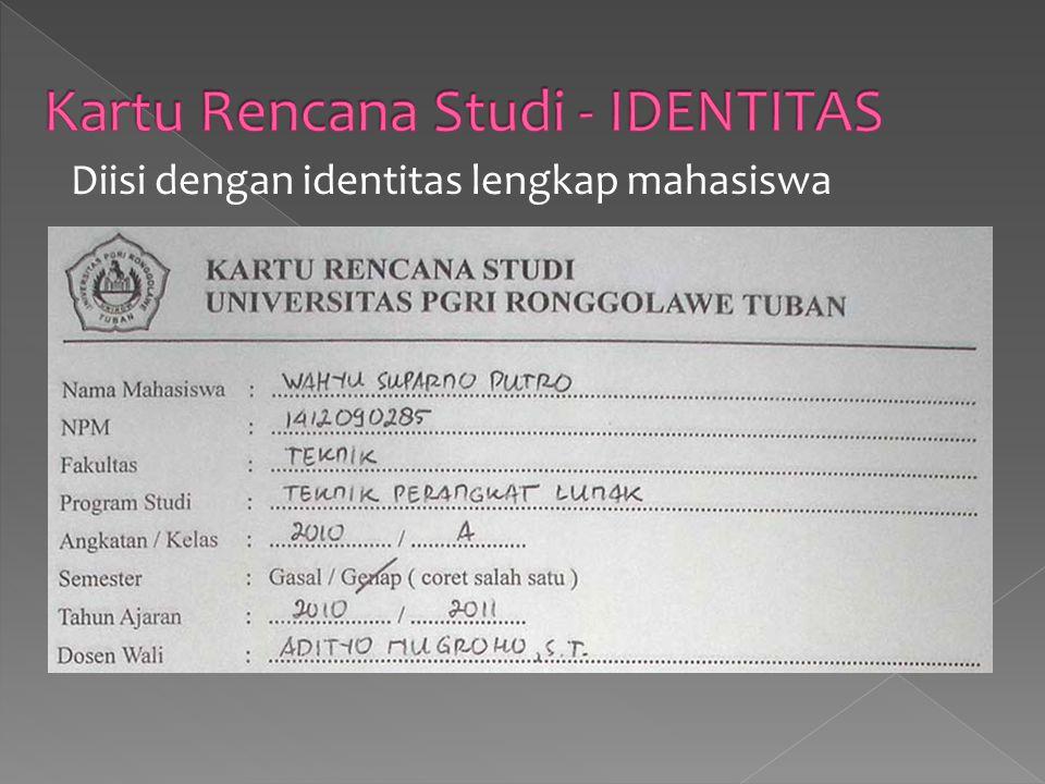 Kartu Rencana Studi - IDENTITAS