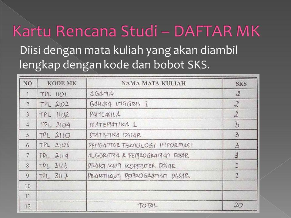Kartu Rencana Studi – DAFTAR MK