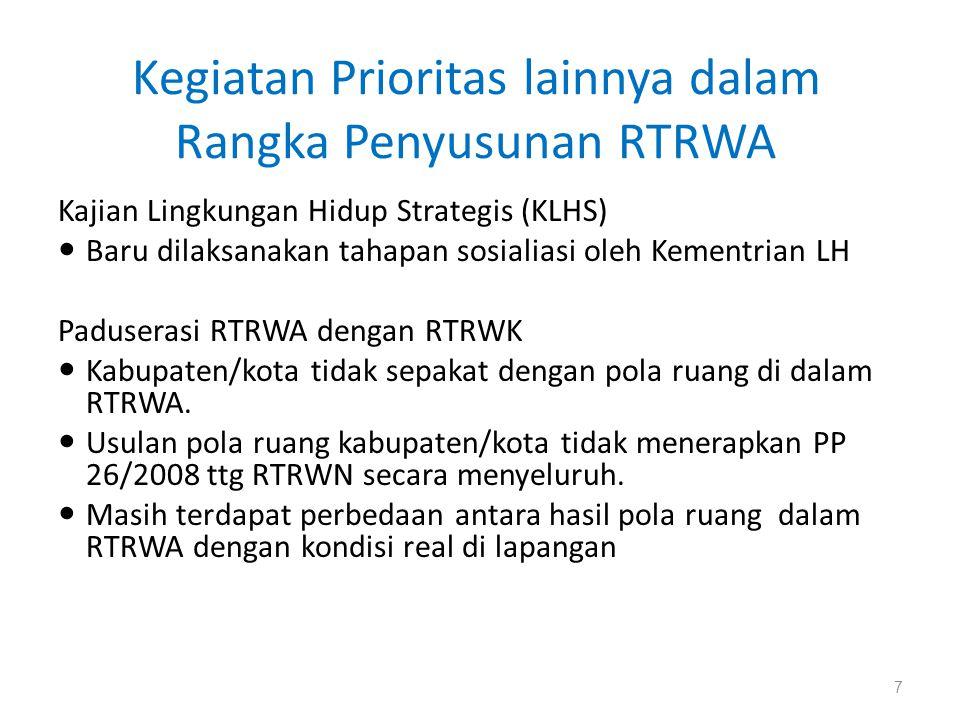 Kegiatan Prioritas lainnya dalam Rangka Penyusunan RTRWA