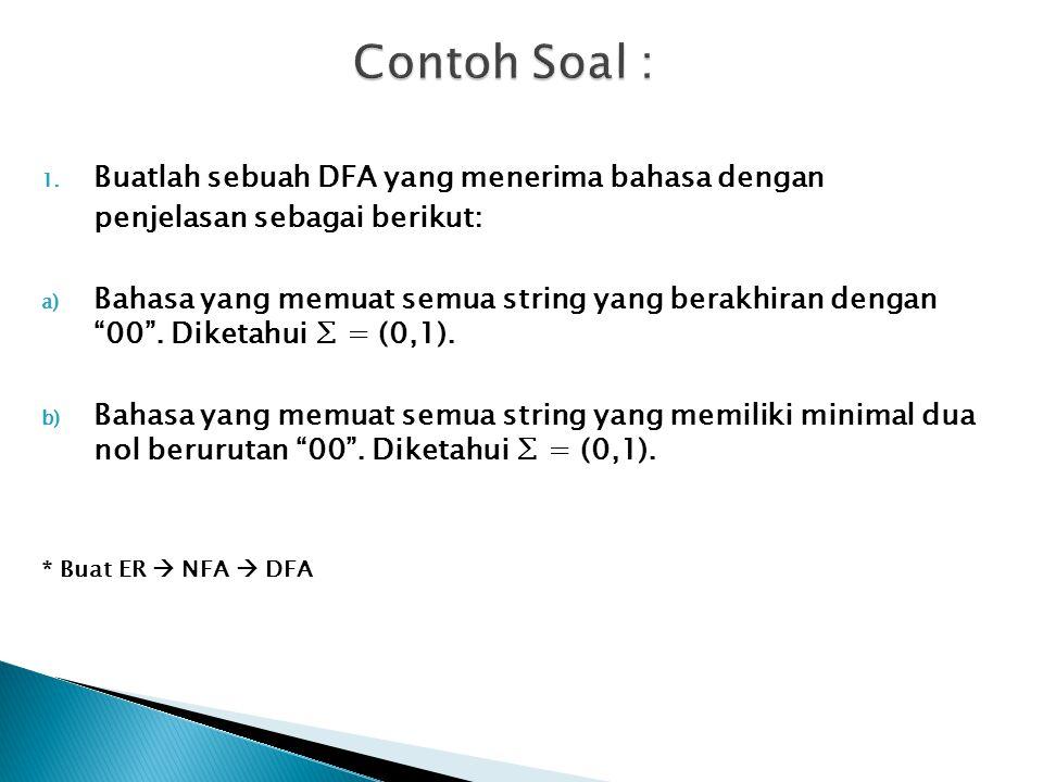 Contoh Soal : Buatlah sebuah DFA yang menerima bahasa dengan