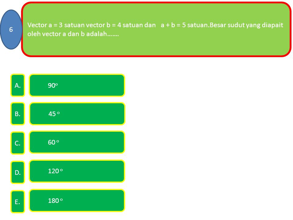 Vector a = 3 satuan vector b = 4 satuan dan a + b = 5 satuan