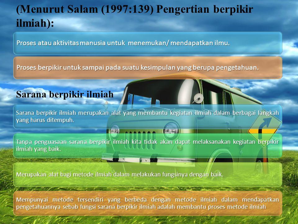 (Menurut Salam (1997:139) Pengertian berpikir ilmiah):