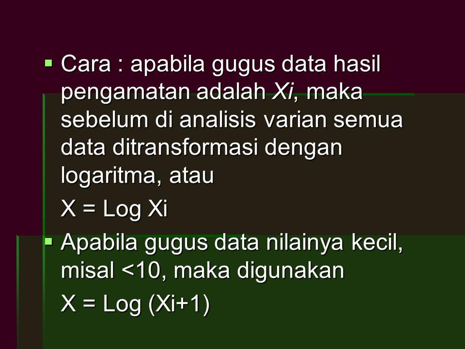 Cara : apabila gugus data hasil pengamatan adalah Xi, maka sebelum di analisis varian semua data ditransformasi dengan logaritma, atau