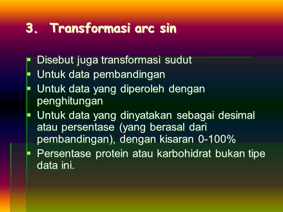 3. Transformasi arc sin Disebut juga transformasi sudut