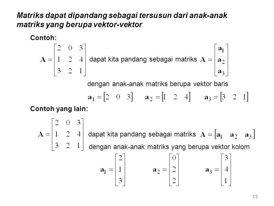 Matriks dapat dipandang sebagai tersusun dari anak-anak matriks yang berupa vektor-vektor