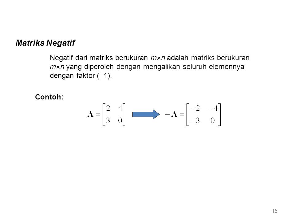 Matriks Negatif