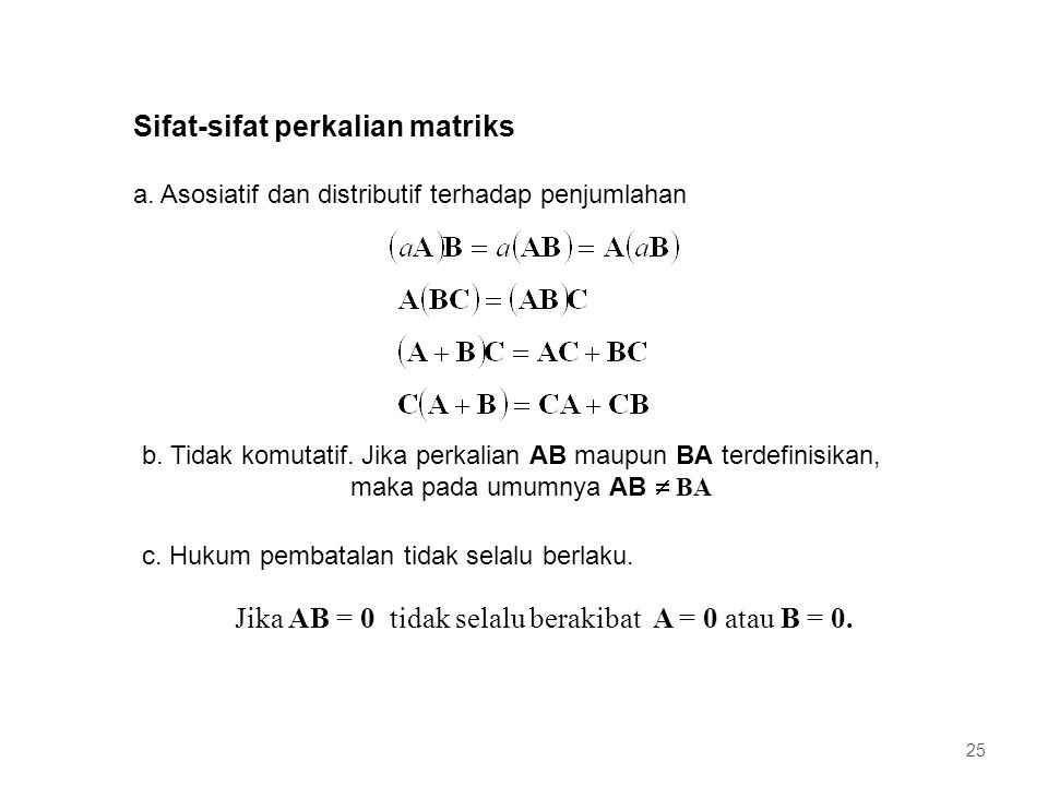 Sifat-sifat perkalian matriks