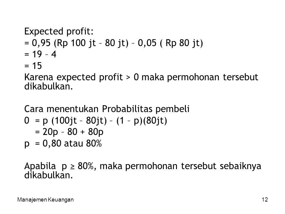 Karena expected profit > 0 maka permohonan tersebut dikabulkan.