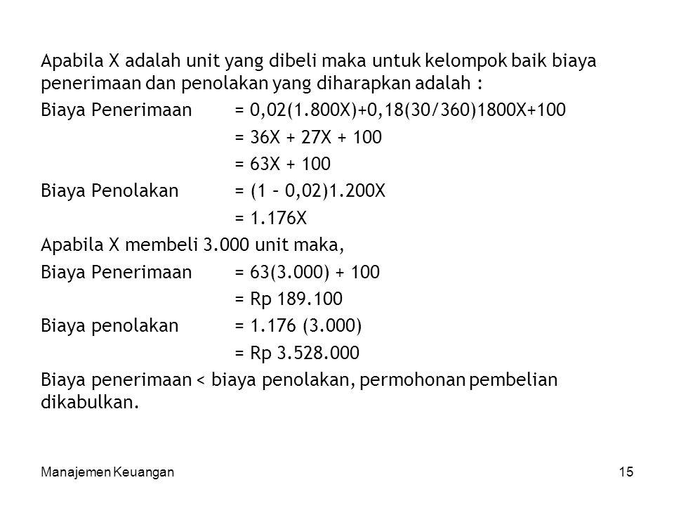 Biaya Penerimaan = 0,02(1.800X)+0,18(30/360)1800X+100