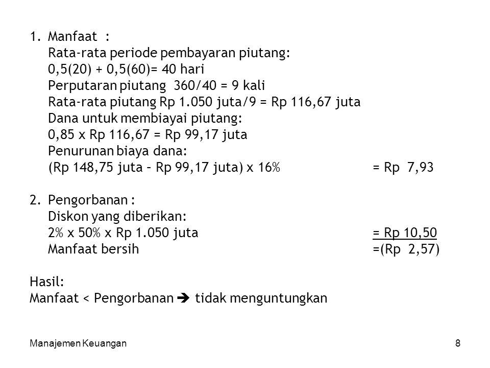 Rata-rata periode pembayaran piutang: 0,5(20) + 0,5(60)= 40 hari