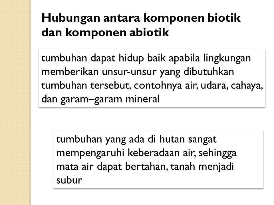 Hubungan antara komponen biotik dan komponen abiotik
