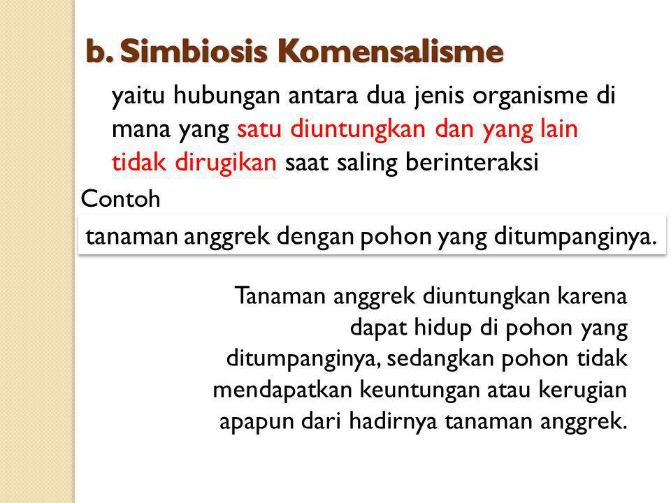 b. Simbiosis Komensalisme
