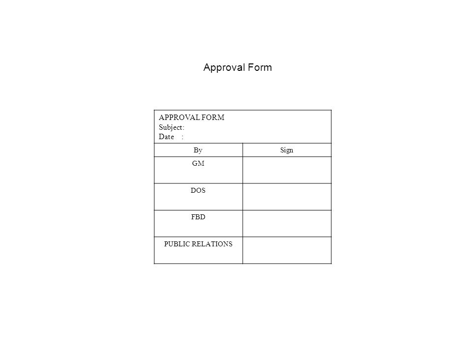 Approval Form APPROVAL FORM Subject: Date : By Sign GM DOS FBD