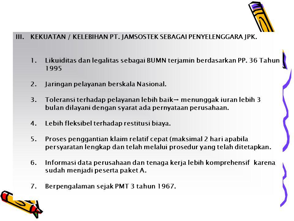 III. KEKUATAN / KELEBIHAN PT. JAMSOSTEK SEBAGAI PENYELENGGARA JPK.