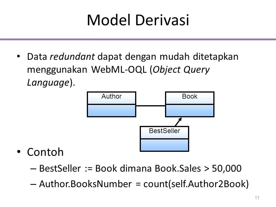 Model Derivasi Data redundant dapat dengan mudah ditetapkan menggunakan WebML-OQL (Object Query Language).