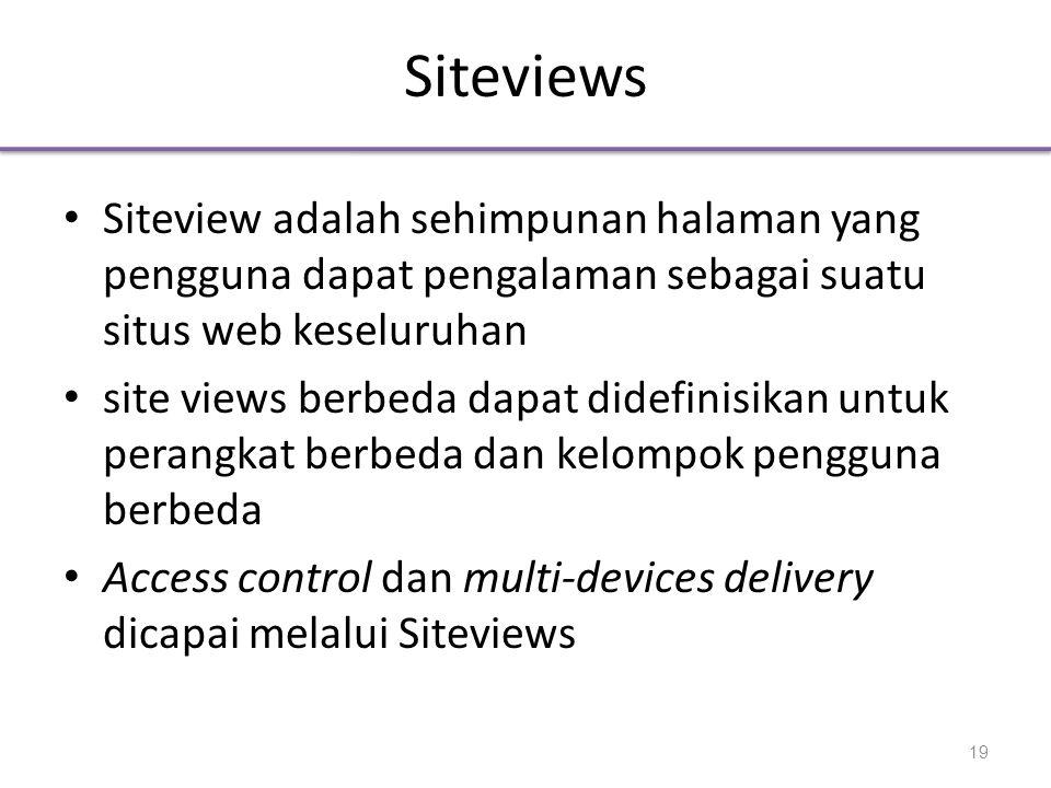 Siteviews Siteview adalah sehimpunan halaman yang pengguna dapat pengalaman sebagai suatu situs web keseluruhan.
