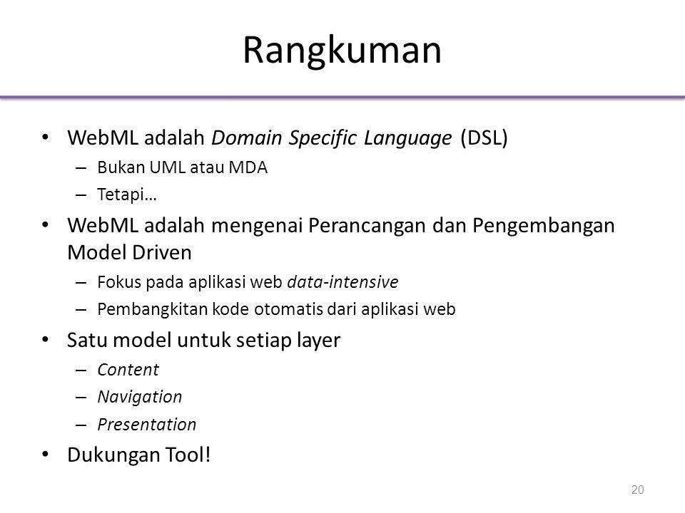 Rangkuman WebML adalah Domain Specific Language (DSL)