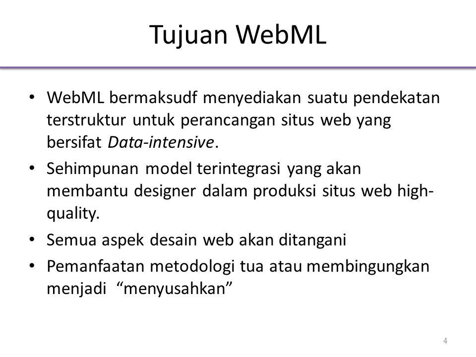 Tujuan WebML WebML bermaksudf menyediakan suatu pendekatan terstruktur untuk perancangan situs web yang bersifat Data-intensive.