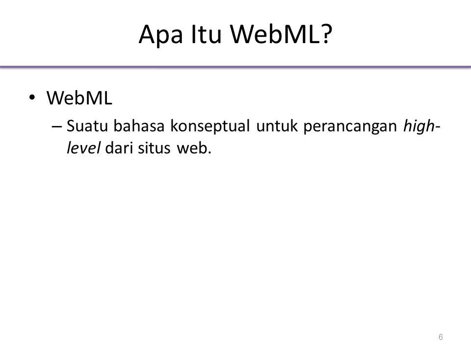 Apa Itu WebML WebML Suatu bahasa konseptual untuk perancangan high-level dari situs web.