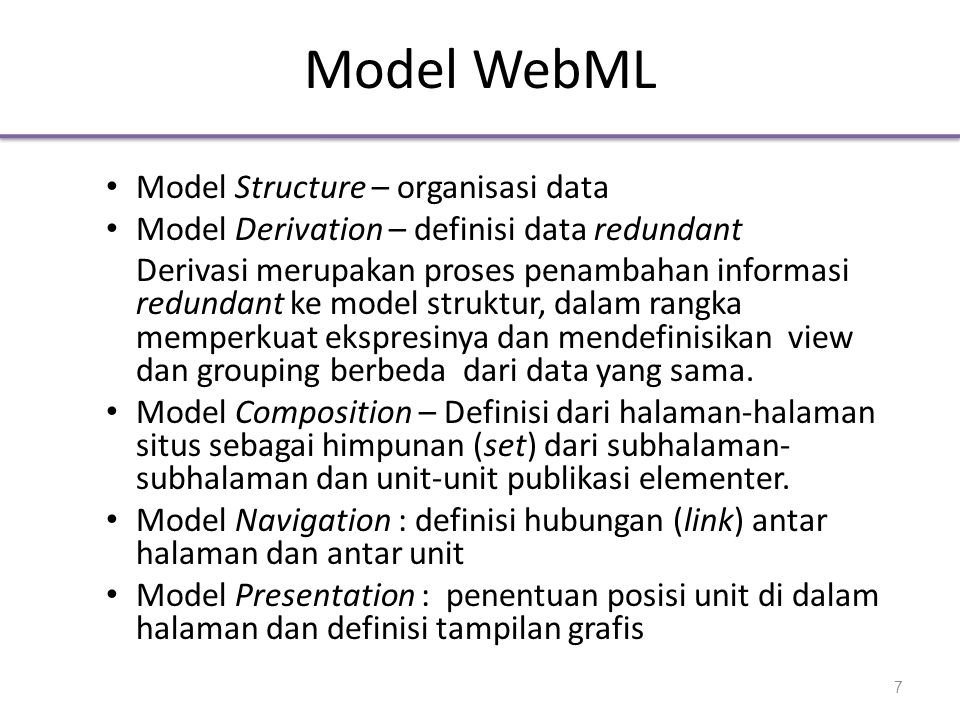 Model WebML Model Structure – organisasi data