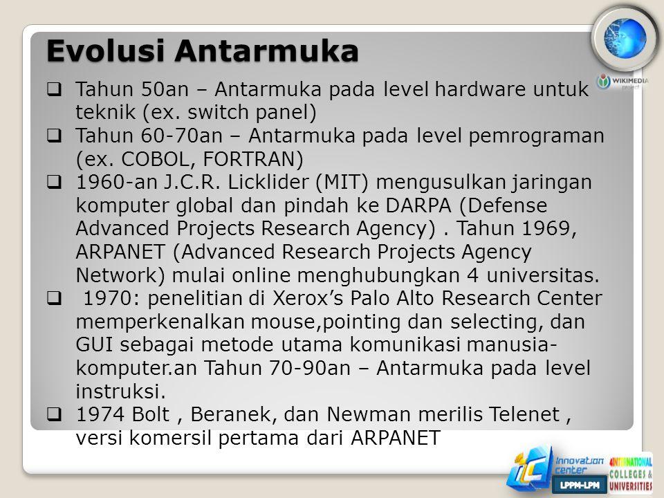 Evolusi Antarmuka Tahun 50an – Antarmuka pada level hardware untuk teknik (ex. switch panel)