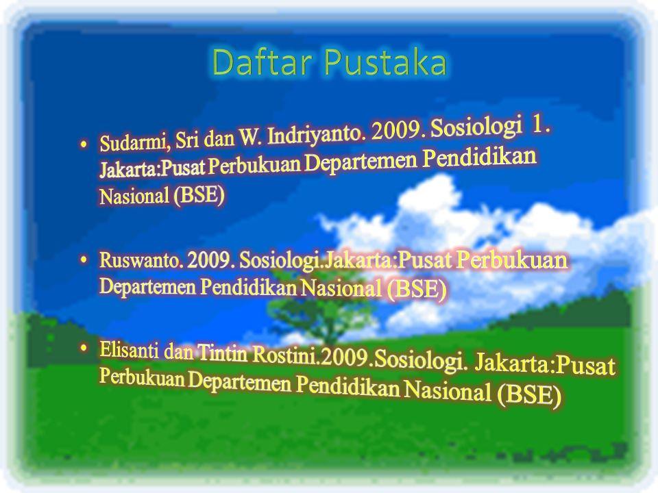 Daftar Pustaka Sudarmi, Sri dan W. Indriyanto. 2009. Sosiologi 1. Jakarta:Pusat Perbukuan Departemen Pendidikan Nasional (BSE)