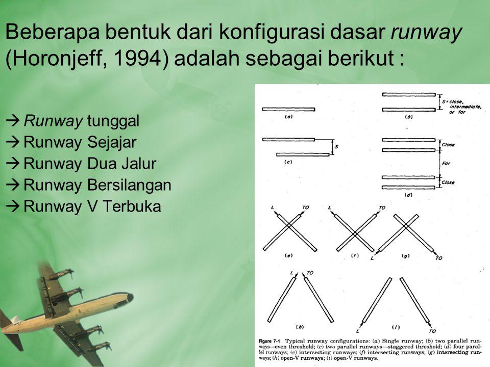 Beberapa bentuk dari konfigurasi dasar runway (Horonjeff, 1994) adalah sebagai berikut :
