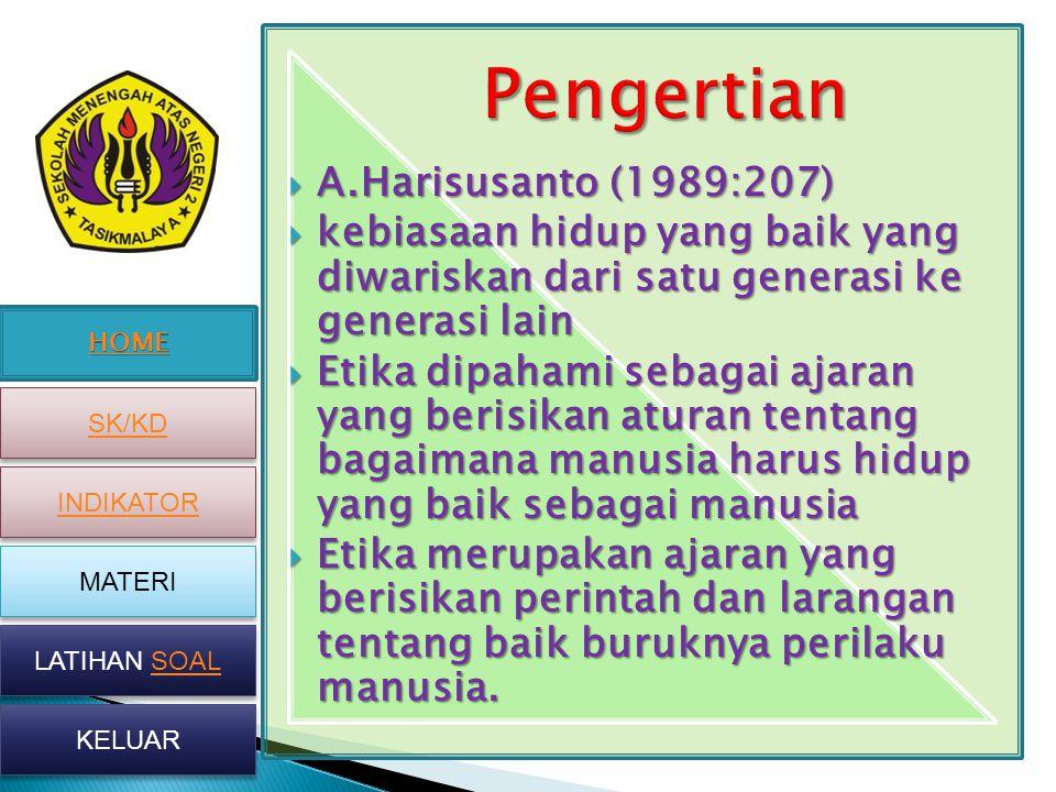 Pengertian A.Harisusanto (1989:207)