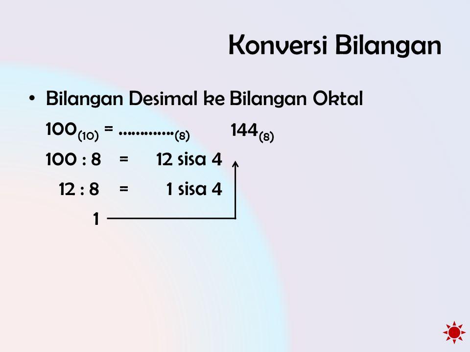 Konversi Bilangan Bilangan Desimal ke Bilangan Oktal