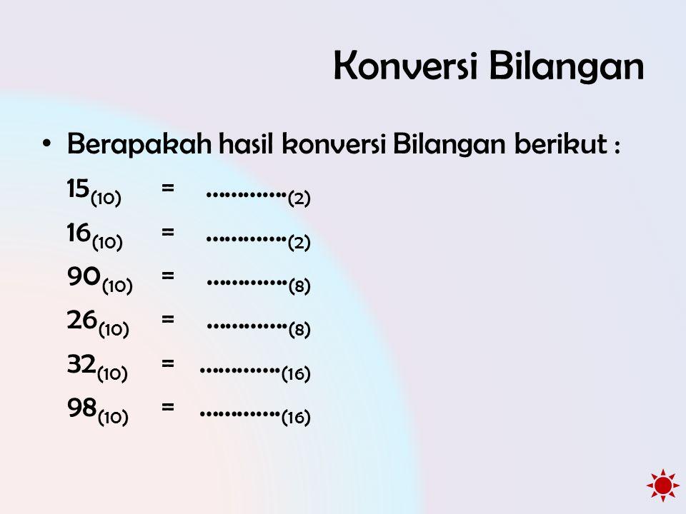Konversi Bilangan Berapakah hasil konversi Bilangan berikut :