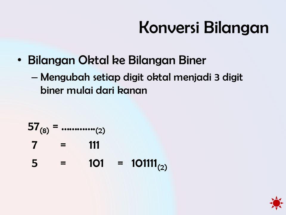 Konversi Bilangan Bilangan Oktal ke Bilangan Biner 57(8) = ………….(2)