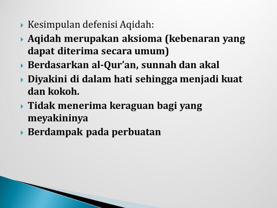 Kesimpulan defenisi Aqidah: