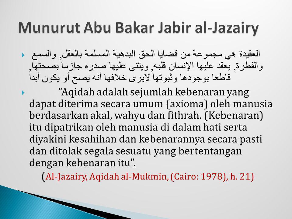 Munurut Abu Bakar Jabir al-Jazairy