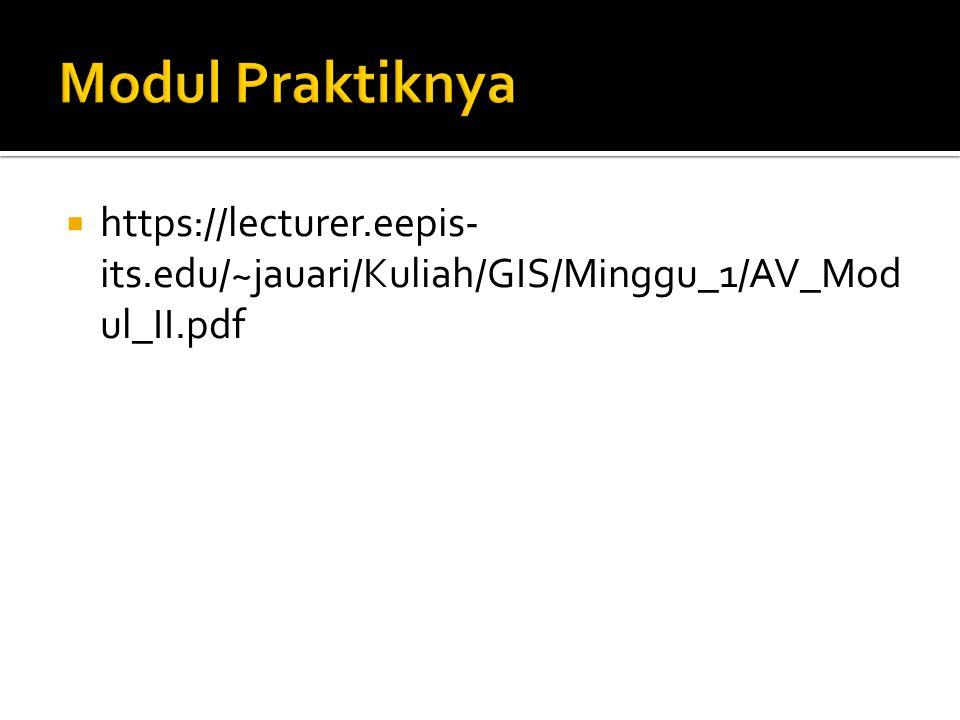 Modul Praktiknya https://lecturer.eepis-its.edu/~jauari/Kuliah/GIS/Minggu_1/AV_Modul_II.pdf