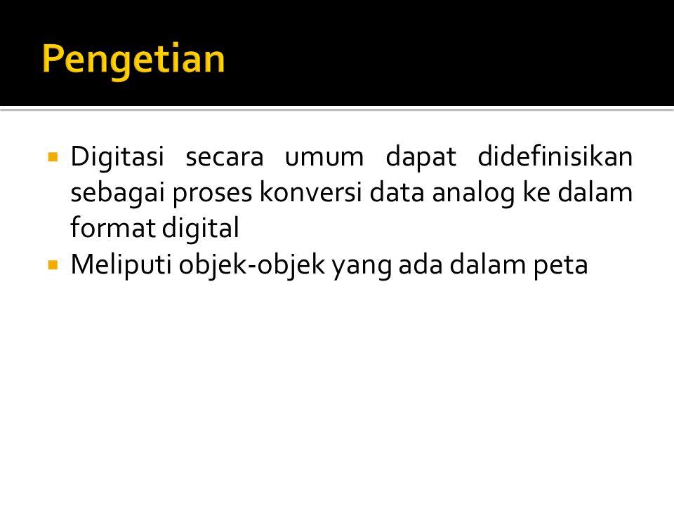Pengetian Digitasi secara umum dapat didefinisikan sebagai proses konversi data analog ke dalam format digital.