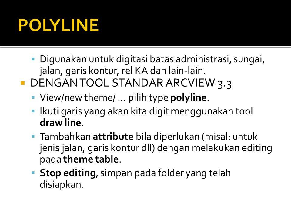 POLYLINE DENGAN TOOL STANDAR ARCVIEW 3.3