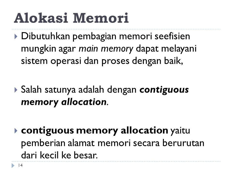 Alokasi Memori Dibutuhkan pembagian memori seefisien mungkin agar main memory dapat melayani sistem operasi dan proses dengan baik,
