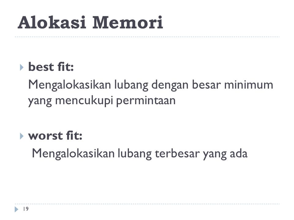 Alokasi Memori best fit: