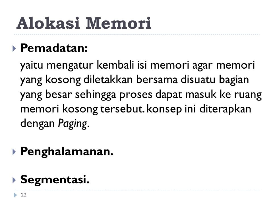 Alokasi Memori Pemadatan: