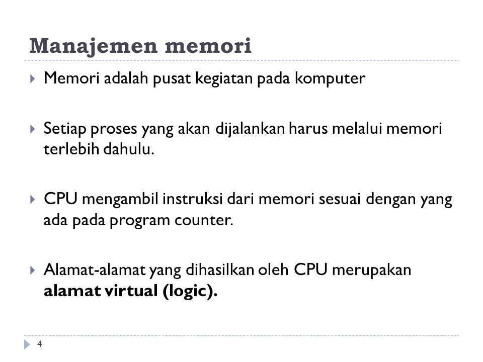 Manajemen memori Memori adalah pusat kegiatan pada komputer