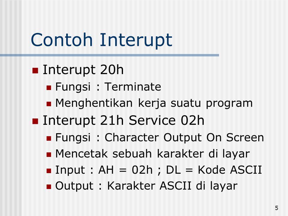 Contoh Interupt Interupt 20h Interupt 21h Service 02h