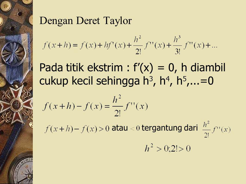 Dengan Deret Taylor Pada titik ekstrim : f'(x) = 0, h diambil cukup kecil sehingga h3, h4, h5,...=0.